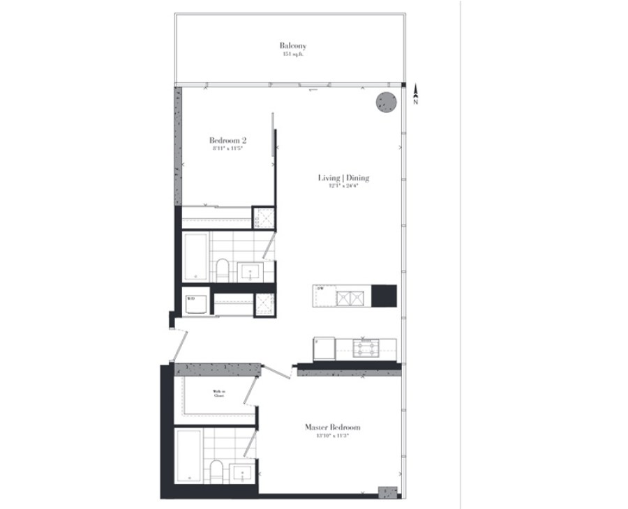 224 KING WEST - TWO BED FLOORPLAN 920 SQ FT