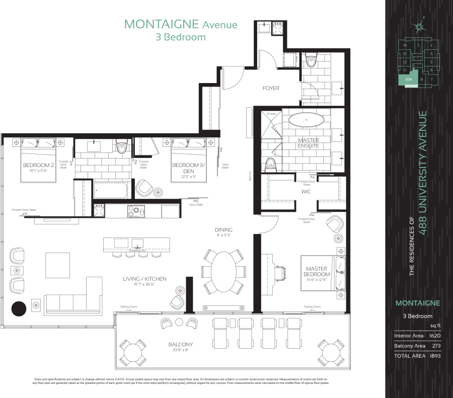 488 UNIVERSITY - FLOORPLAN THREE BED 1620 SQ FT - CONTACT YOSSI KAPLAN