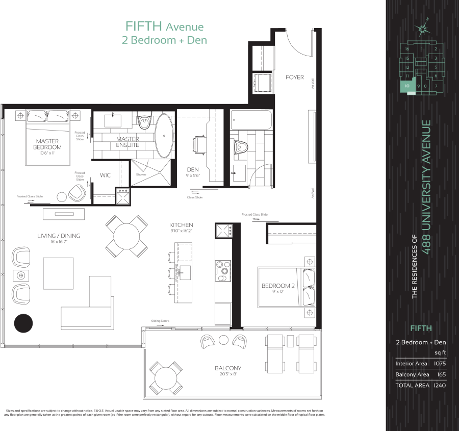 488 UNIVERSITY - FLOORPLAN TWO BED 1075 SQ FT - CONTACT YOSSI KAPLAN