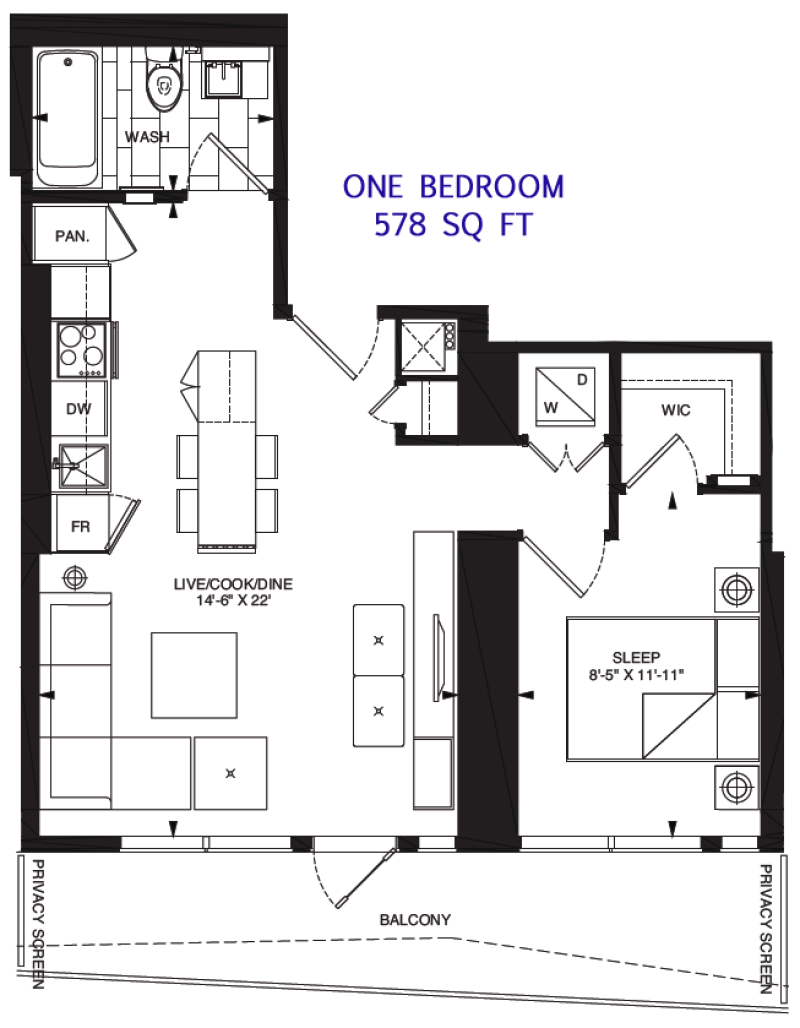 197 YONGE - FLOORPLANS ONE BED 578 SQ FT - CONTACT YOSSI KAPLAN