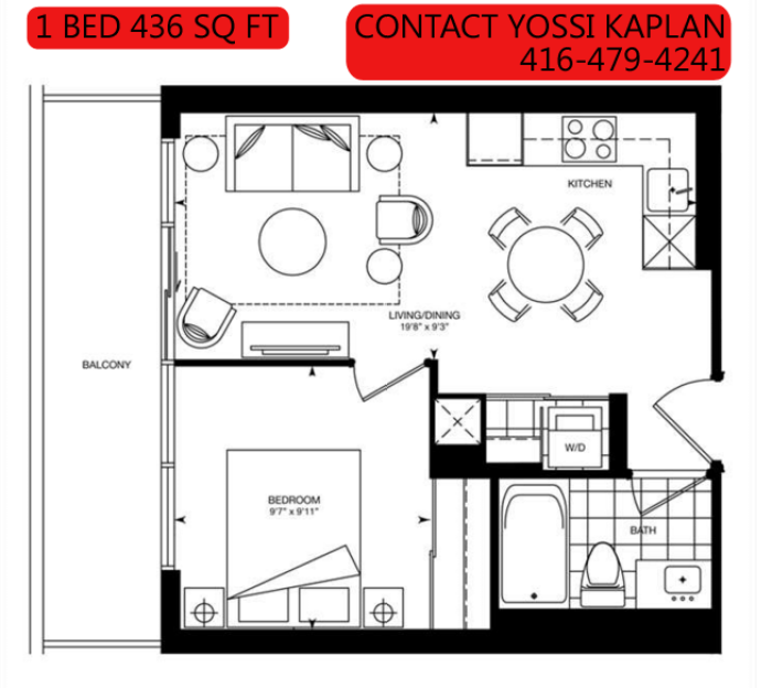 387 BLOOR ST EAST - FLOORPLAN 1 BED 436 SQ FT - CONTACT YOSSI KAPLAN