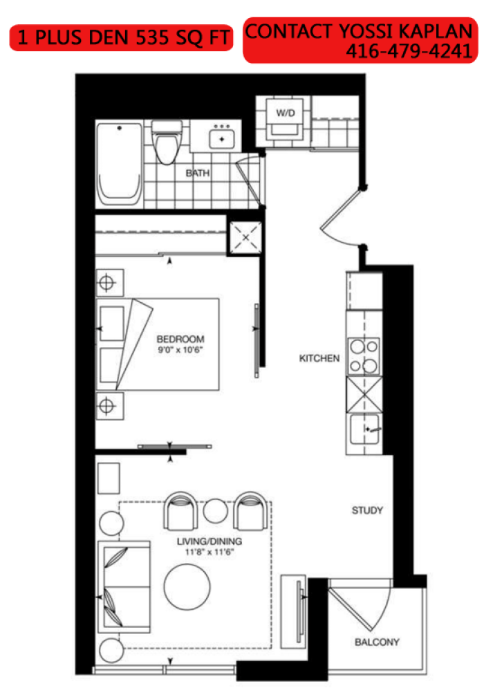 387 BLOOR ST EAST - FLOORPLAN 1 PLUS DEN 535 SQ FT - CONTACT YOSSI KAPLAN
