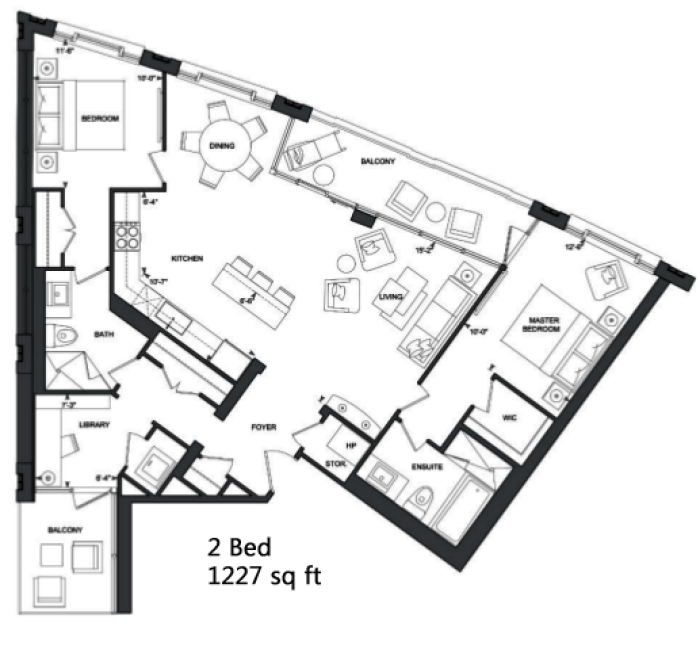 181 DAVENPORT - FLOORPLANS TWO BED 1227 SQ FT - CONTACT YOSSI KAPLAN