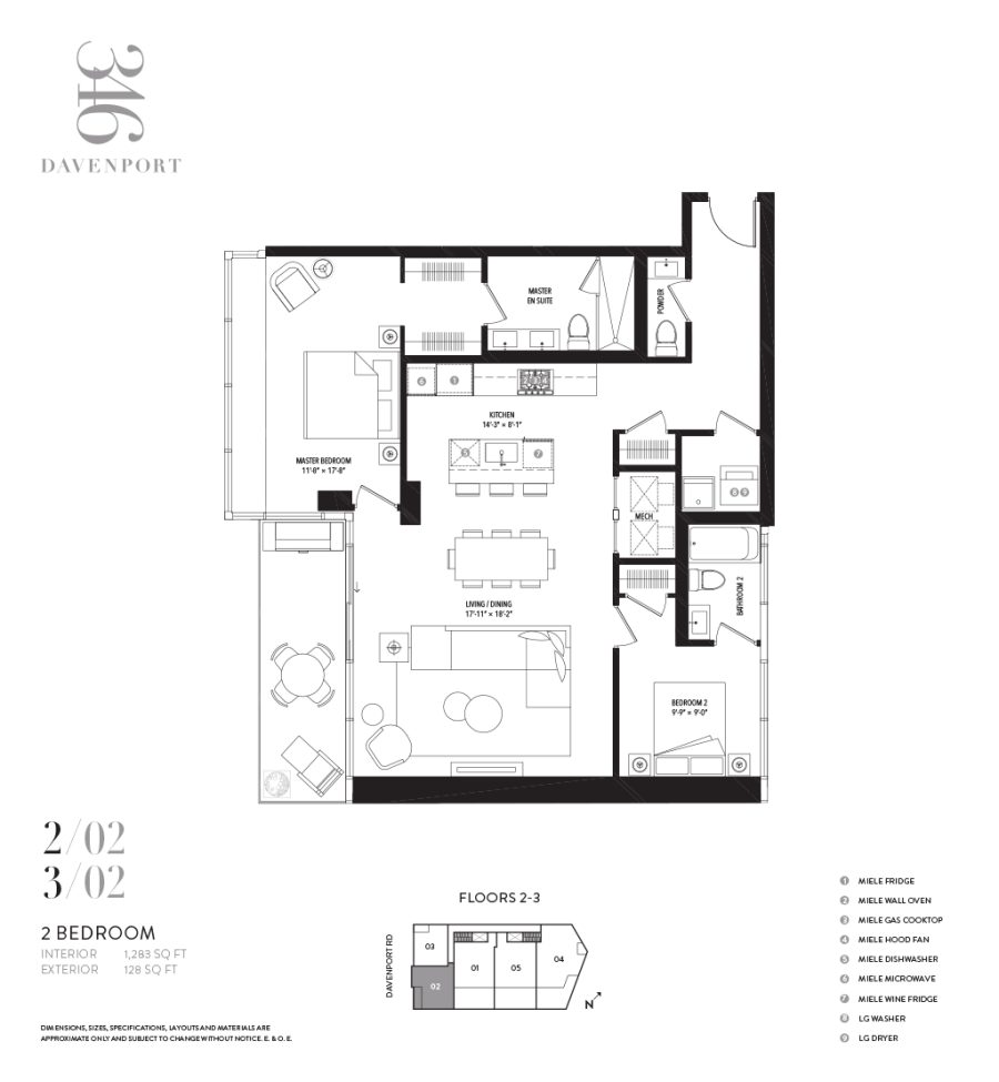 346 DAVENPORT - FLOORPLAN TWO BEDROOM 1283 SQ FT