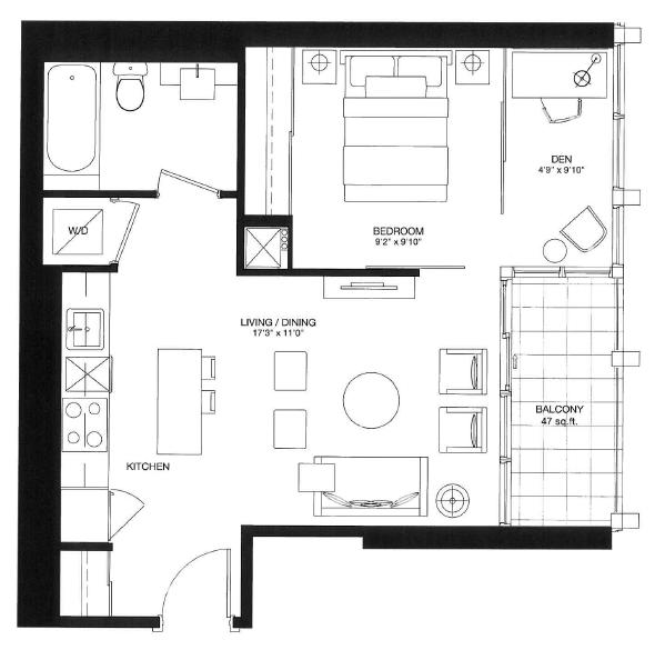 Bisha Residences - 56 Blue Jays Way Toronto M5V2G3 - Logan Floorplan - Condo Sales Yossi Kaplan