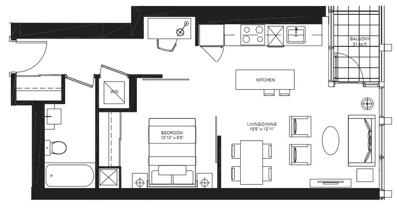 Bisha Residences - 56 Blue Jays Way Toronto M5V2G3 - Veronique Floorplan - Condo Sales Yossi Kaplan