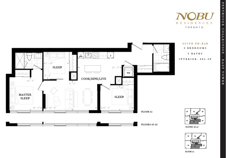 Nobu Penthouse for Sale - Floorplan Three Bedroom 864 sq ft