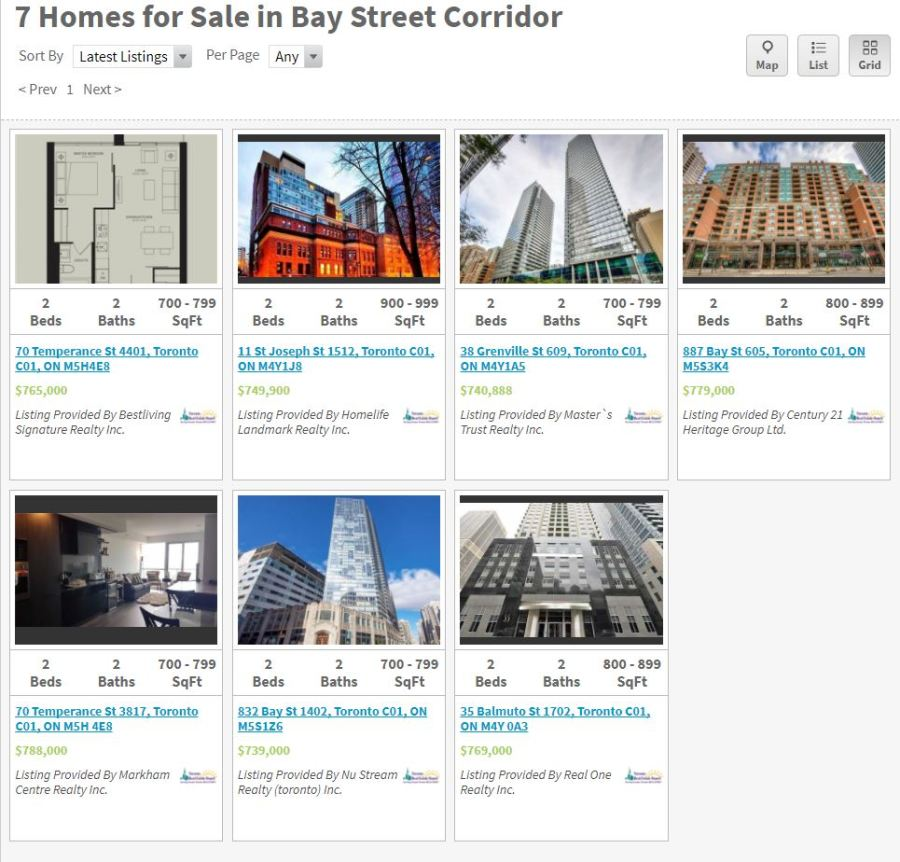 Bay Street Condos 2-bed live listings