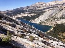 look at tenaya lake partway up the peak