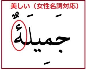 アラビア語の形容詞「美しい」女性形版