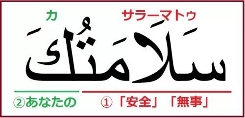アラビア語で「お大事に」を意味する「サラーマトゥカ」解説つき