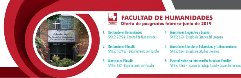 Oferta de posgrados de la Facultad de Humanidades de Univalle, primer semestre de 2019