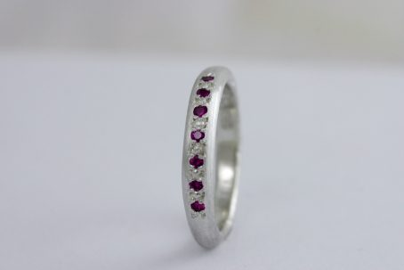 Pink Ruby & White Gold Engagement Ring - Available As Wedding Set 5