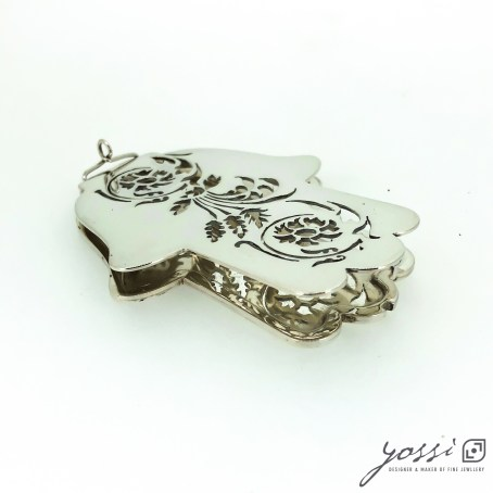 Handmade Sterling Silver Hamsa Amulet | Precious Object with Botanical Floral Motifs 2