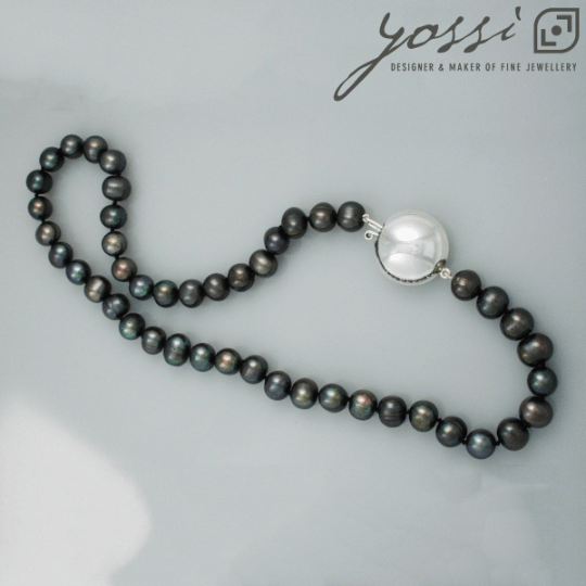 Royal Black Freshwater Pearl Necklace 26