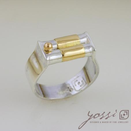 Dainty Silver & Gold Wedding Ring 3