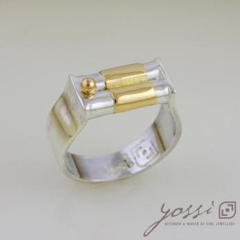Dainty Silver & Gold Wedding Ring