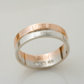 Graceful Rose and White Gold Wedding Ring