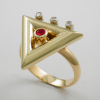 Exquisite Diamond and Ruby Triangle Ring 1