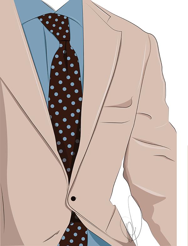 Illustration eines beigen Sakkos mit blauem Hemd