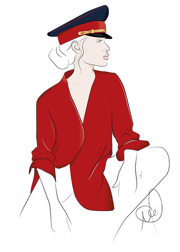 Modeillustration einer Frau mit einem roten Hemd und Schirmmütze