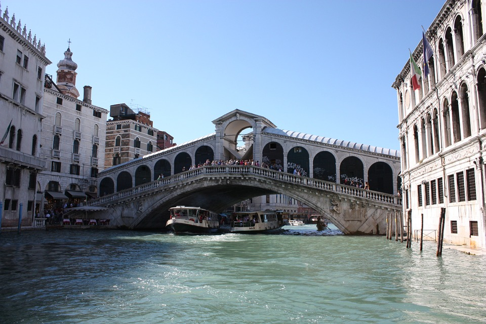 Venice, Italy, Rialto Bridge.