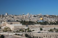 Jerusalem is a city in the Middle East, located on a plateau in the Judaean Mountains between th ...