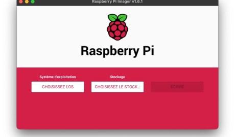 Ecran principal de Raspberry Pi Imager