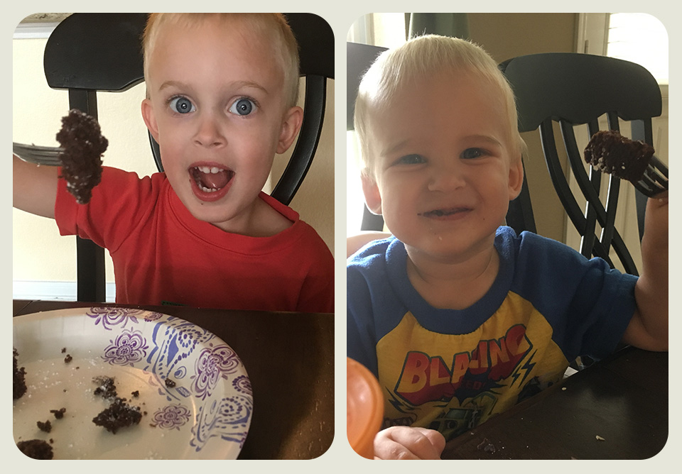 Two young boys eating brownies in a side-by-side photo frame