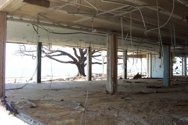The bottom floor of an office building along Hwy 90 on the Mississippi Gulf Coast following Hurricane Katrina.