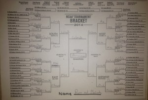 Our 2014 bracket. Ryan let me take the Buffs all the way to the championship. With Arizona winning, though? My family's influence I suppose...