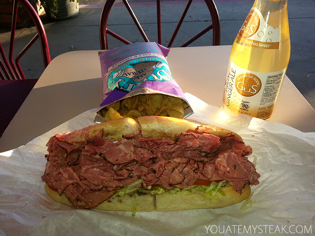 Lean pastrami on small, soft roll, salt & vinegar chips, gingerale Italia Bakery Deli Granada Hills Ca yelp reviews