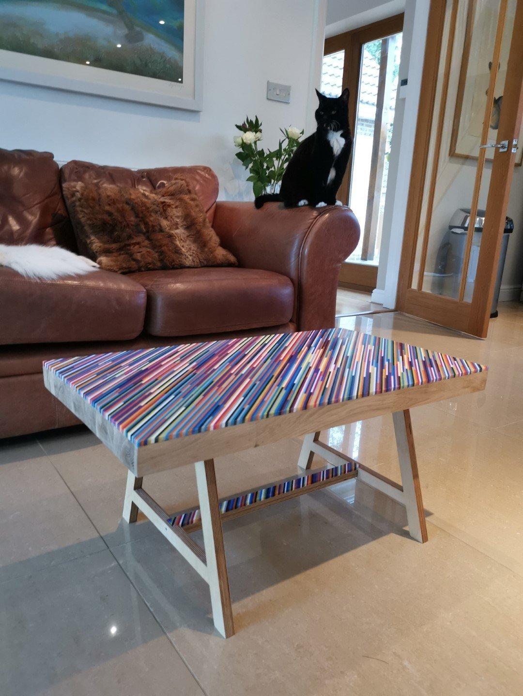 multi coloured acrylic coffee table