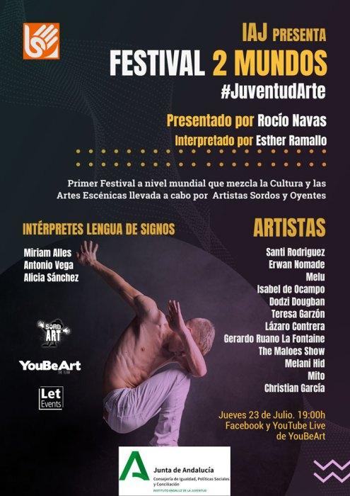 Cartel del Festival 2 Mundos del IAJ de la Junta de Andalucía. Youbeart - The Team