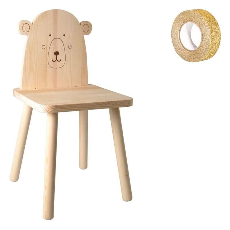 In questo articolo vi proporremo alcuni tutorial, facili da realizzare,. Sedia Per Bambini Legno 57 5 Cm Orsetto Washi Tape Oro