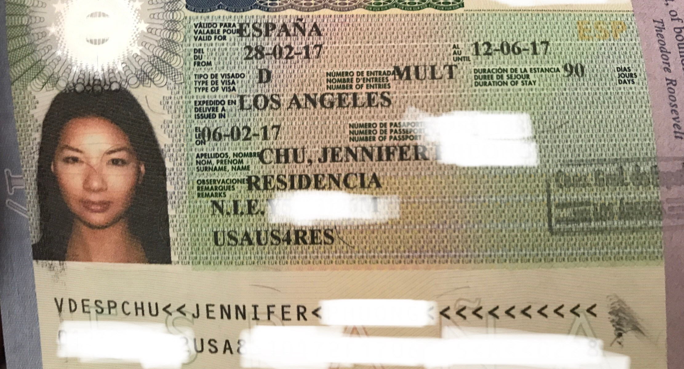 spanish non lucrative visa page in passport
