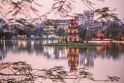 Hoa Kiem Lake during sunset