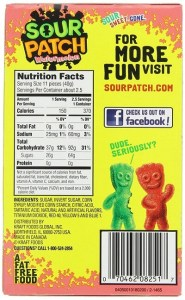 Sour Patch Watermelon back of box nutrition