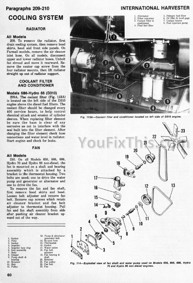 [DIAGRAM_09CH]  IH International 666 686 HYDRO 70 / 86 Shop Manual [Tractor] – YouFixThis | International 466t Engine Coolant Diagram |  | YouFixThis