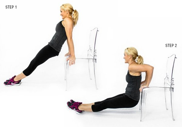 body weight exercises chair dips