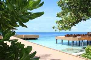 Wooden deck in Maldives.