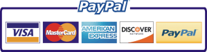 PayPal Payment Options, Visa, MasterCard, American Express, Discover Card, all through PayPal.