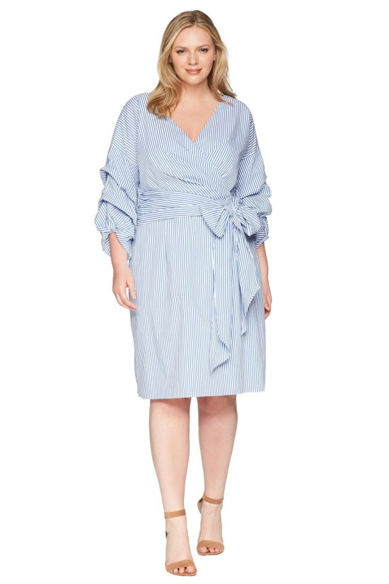 Adrianna Papell Plus Size Short Wrap Dress Long Sleeves