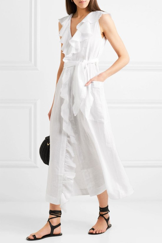 THREE GRACES LONDON Mable Ruffled Linen Midi Dress