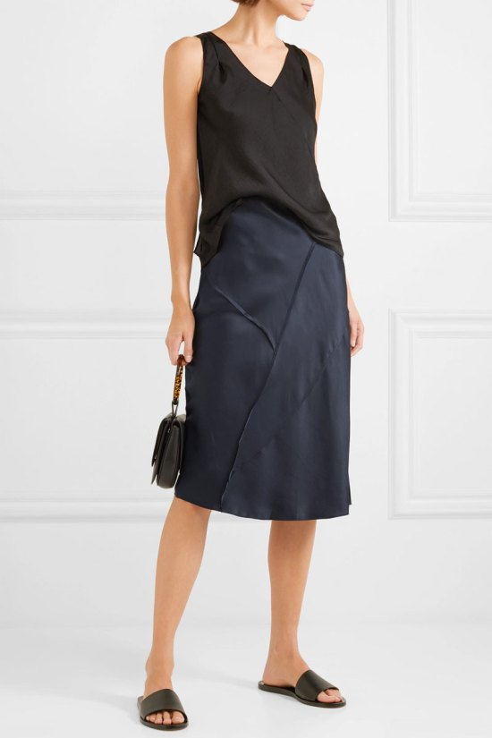 VINCE-Paneled-Silk-satin-Midi-Skirt