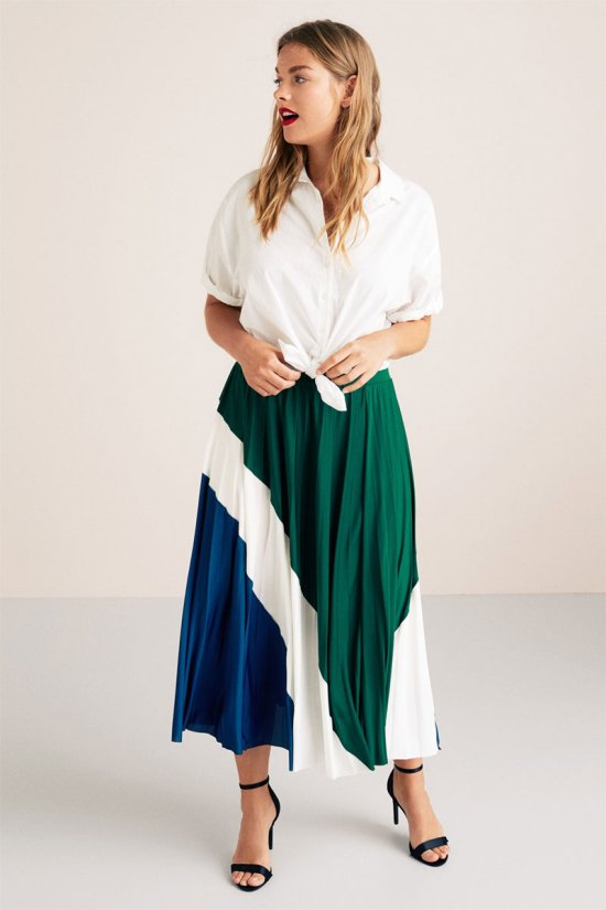 Violeta Combined Pleated Skirt