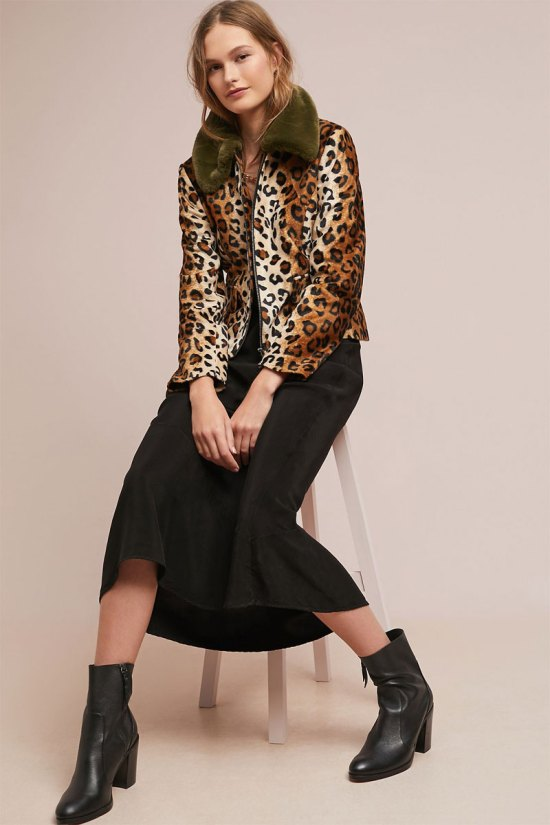 Anthropologie Wild Leopard Coat