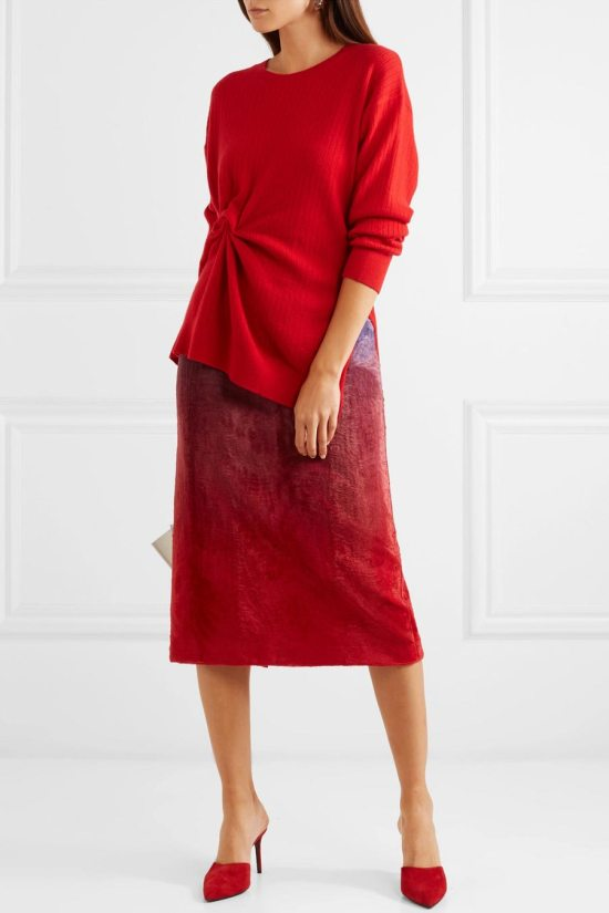 SIES MARJAN Brynn Gathered Ribbed Cashmere Sweater