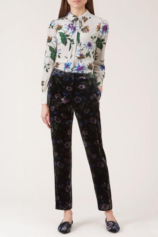 Hobbs Passionflower Velvet Pants