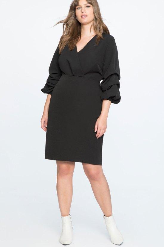 Eloquii Puff Sleeve Overlap V-Neck Dress